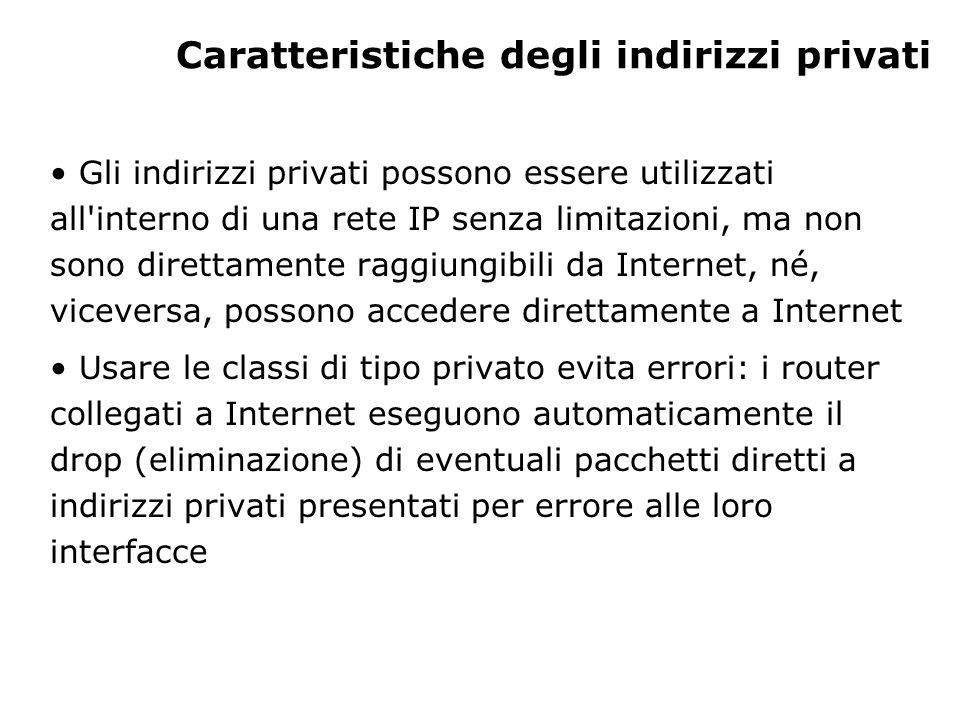 Caratteristiche degli indirizzi privati Gli indirizzi privati possono essere utilizzati all'interno di una rete IP senza limitazioni, ma non sono dire
