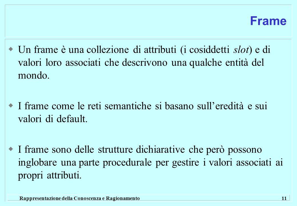 Rappresentazione della Conoscenza e Ragionamento 11 Frame  Un frame è una collezione di attributi (i cosiddetti slot) e di valori loro associati che
