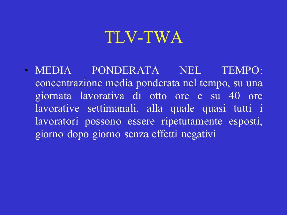 TLV-TWA MEDIA PONDERATA NEL TEMPO: concentrazione media ponderata nel tempo, su una giornata lavorativa di otto ore e su 40 ore lavorative settimanali, alla quale quasi tutti i lavoratori possono essere ripetutamente esposti, giorno dopo giorno senza effetti negativi