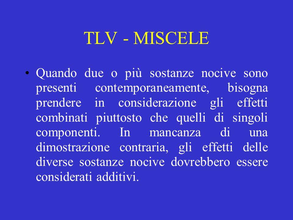 TLV - MISCELE Quando due o più sostanze nocive sono presenti contemporaneamente, bisogna prendere in considerazione gli effetti combinati piuttosto che quelli di singoli componenti.