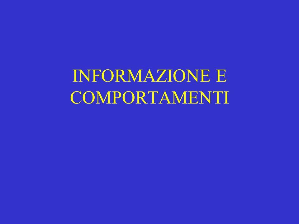 INFORMAZIONE E COMPORTAMENTI