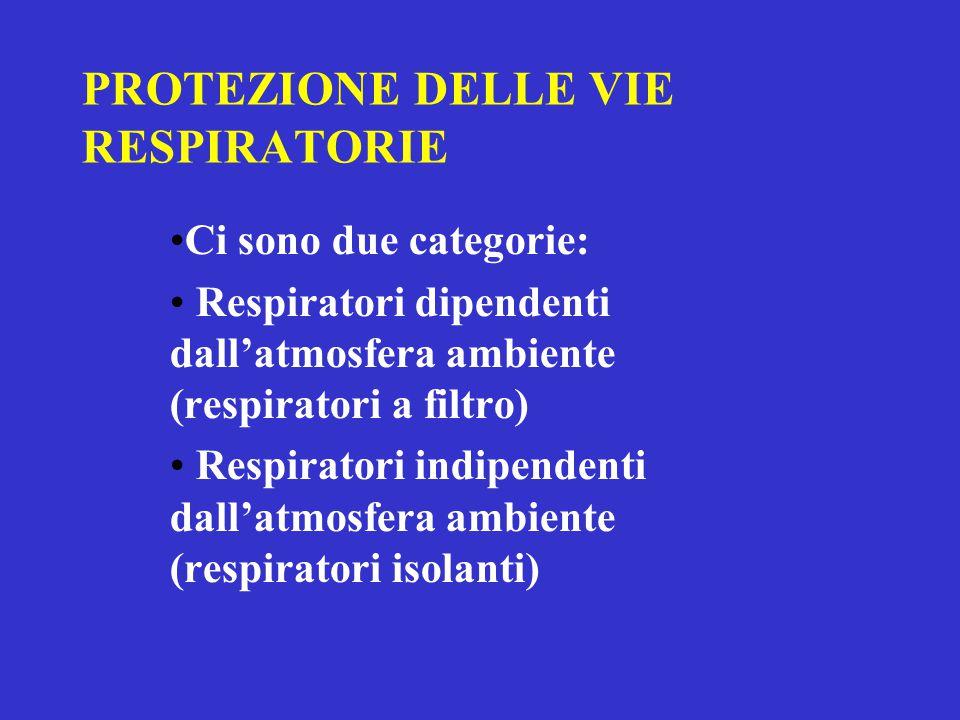 PROTEZIONE DELLE VIE RESPIRATORIE Ci sono due categorie: Respiratori dipendenti dall'atmosfera ambiente (respiratori a filtro) Respiratori indipendenti dall'atmosfera ambiente (respiratori isolanti)