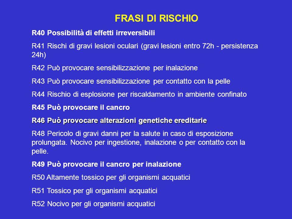 FRASI DI RISCHIO R40 Possibilità di effetti irreversibili R41 Rischi di gravi lesioni oculari (gravi lesioni entro 72h - persistenza 24h) R42 Può provocare sensibilizzazione per inalazione R43 Può provocare sensibilizzazione per contatto con la pelle R44 Rischio di esplosione per riscaldamento in ambiente confinato R45 Può provocare il cancro R46 Può provocare alterazioni genetiche ereditarie R48 Pericolo di gravi danni per la salute in caso di esposizione prolungata.