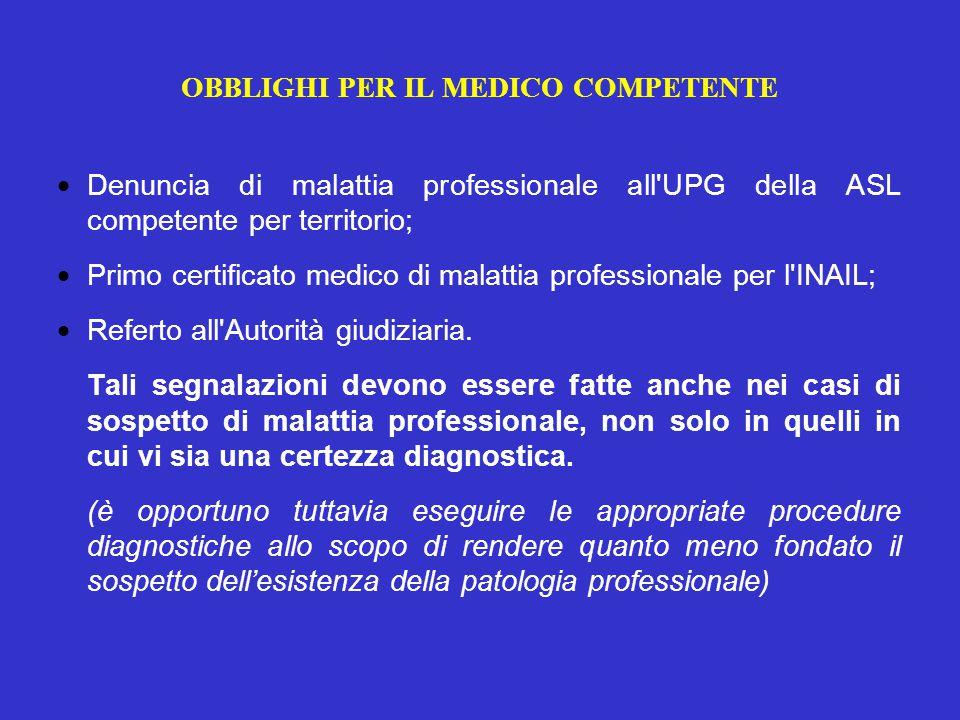 OBBLIGHI PER IL MEDICO COMPETENTE  Denuncia di malattia professionale all UPG della ASL competente per territorio;  Primo certificato medico di malattia professionale per l INAIL;  Referto all Autorità giudiziaria.
