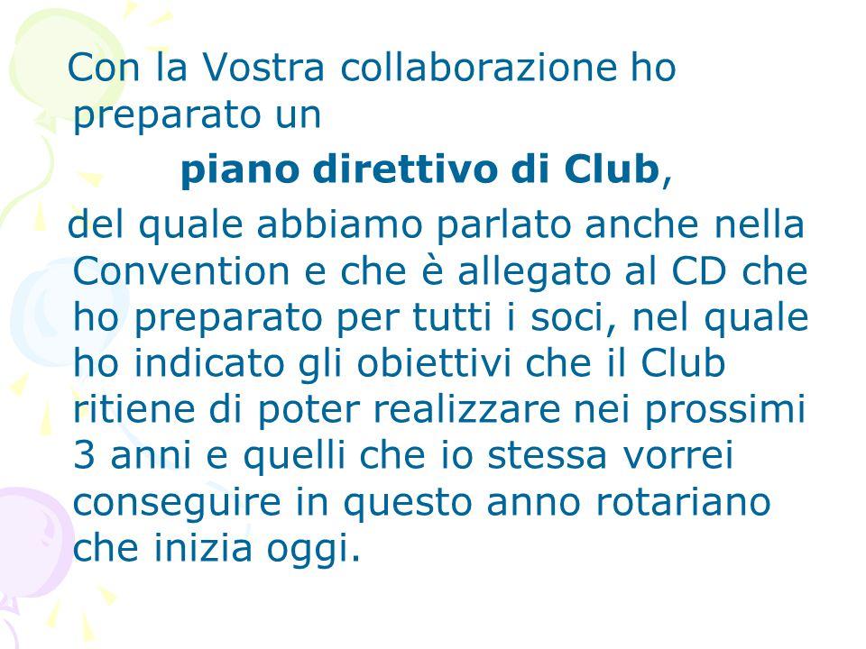 Con la Vostra collaborazione ho preparato un piano direttivo di Club, del quale abbiamo parlato anche nella Convention e che è allegato al CD che ho p