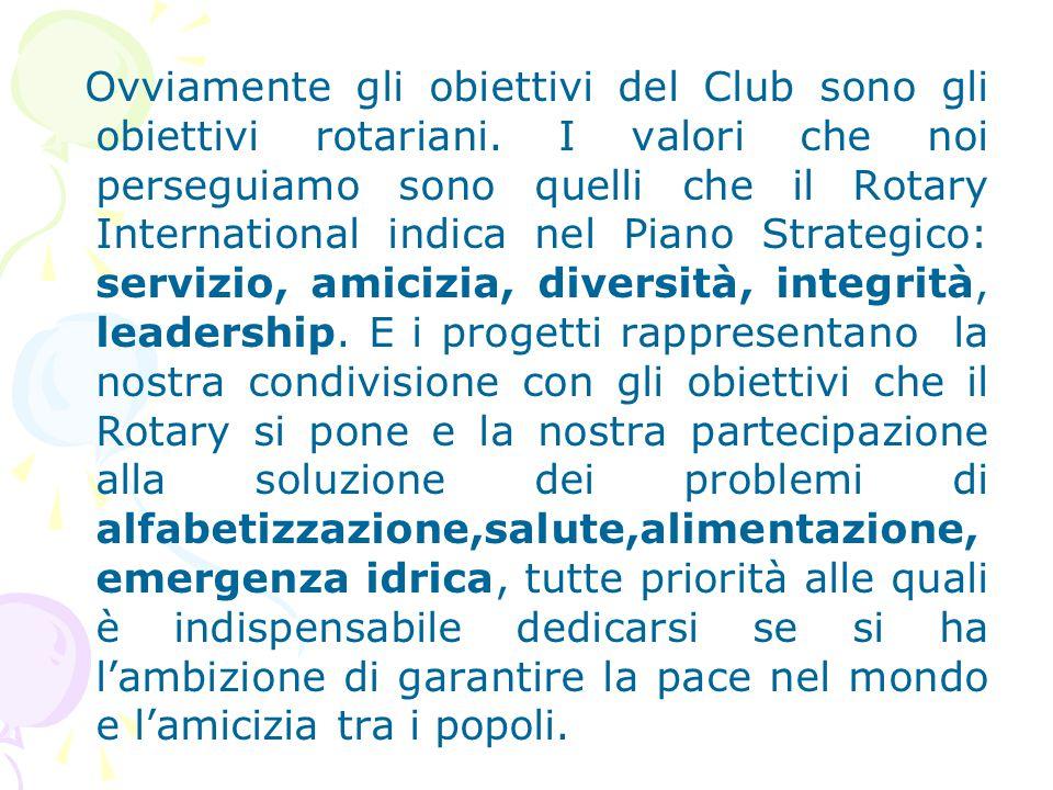 Ovviamente gli obiettivi del Club sono gli obiettivi rotariani. I valori che noi perseguiamo sono quelli che il Rotary International indica nel Piano