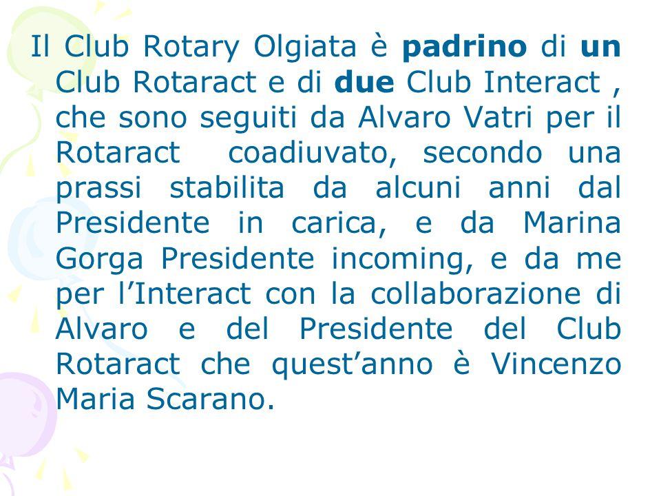 Il Club Rotary Olgiata è padrino di un Club Rotaract e di due Club Interact, che sono seguiti da Alvaro Vatri per il Rotaract coadiuvato, secondo una prassi stabilita da alcuni anni dal Presidente in carica, e da Marina Gorga Presidente incoming, e da me per l'Interact con la collaborazione di Alvaro e del Presidente del Club Rotaract che quest'anno è Vincenzo Maria Scarano.