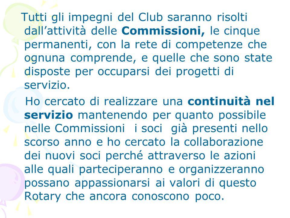 Tutti gli impegni del Club saranno risolti dall'attività delle Commissioni, le cinque permanenti, con la rete di competenze che ognuna comprende, e qu
