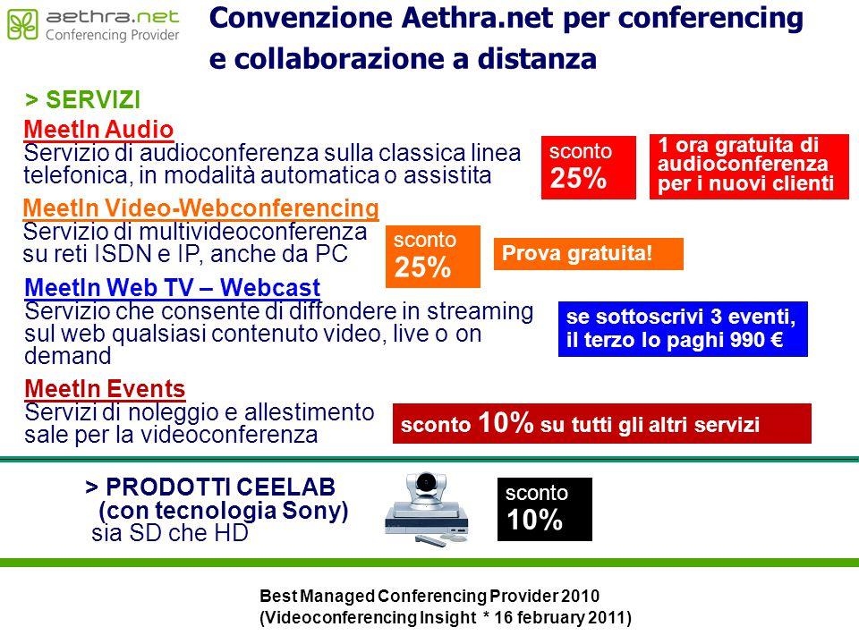 MeetIn Audio Servizio di audioconferenza sulla classica linea telefonica, in modalità automatica o assistita 1 ora gratuita di audioconferenza per i n
