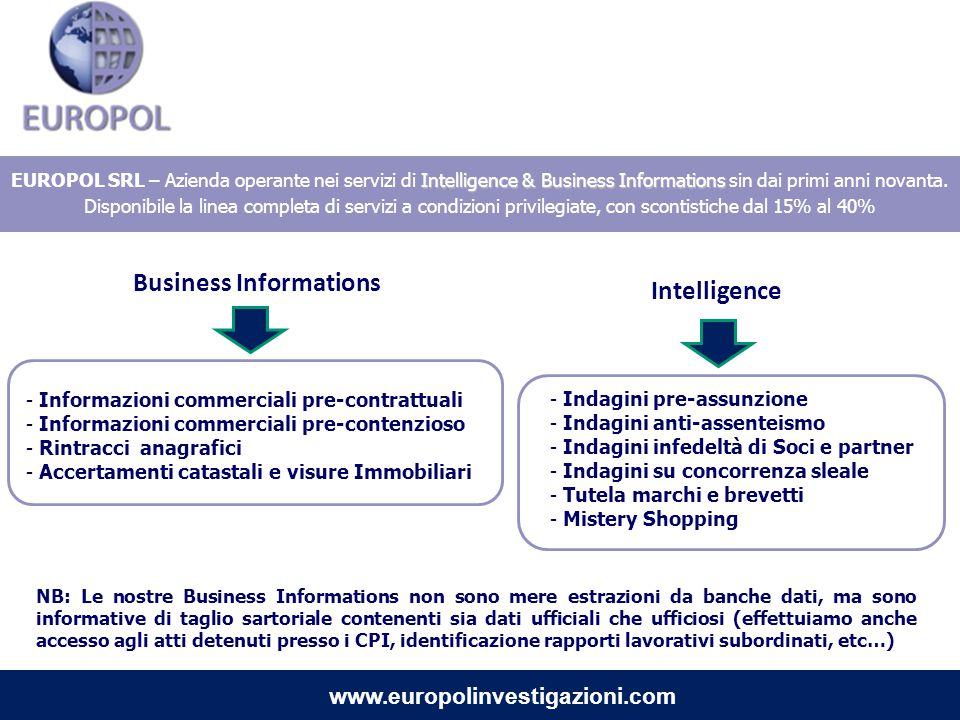 Intelligence & Business Informations EUROPOL SRL – Azienda operante nei servizi di Intelligence & Business Informations sin dai primi anni novanta. Di