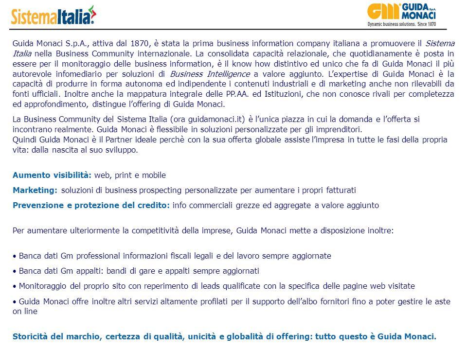 Guida Monaci S.p.A., attiva dal 1870, è stata la prima business information company italiana a promuovere il Sistema Italia nella Business Community i