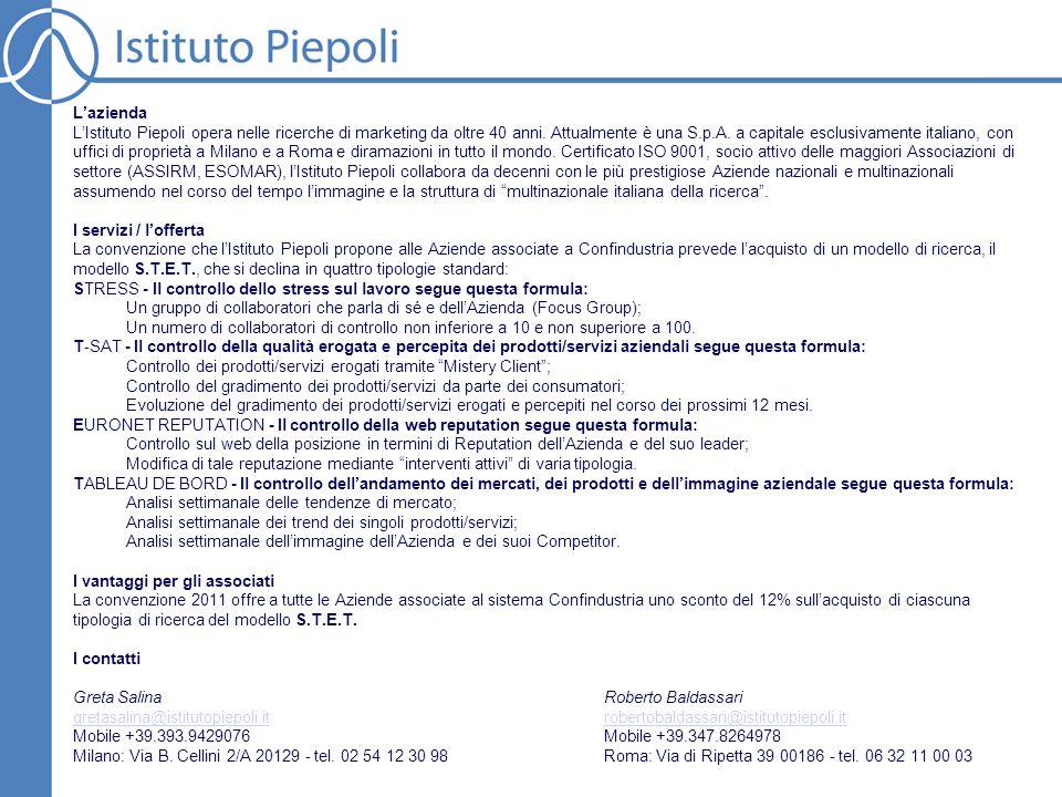 L'azienda L'Istituto Piepoli opera nelle ricerche di marketing da oltre 40 anni. Attualmente è una S.p.A. a capitale esclusivamente italiano, con uffi