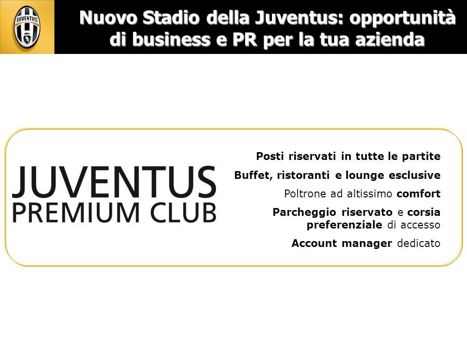 Nuovo Stadio della Juventus: opportunità di business e PR per la tua azienda Posti riservati in tutte le partite Buffet, ristoranti e lounge esclusive