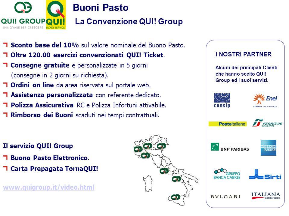 Buoni Pasto La Convenzione QUI! Group I NOSTRI PARTNER Alcuni dei principali Clienti che hanno scelto QUI! Group ed i suoi servizi.. Sconto base del 1