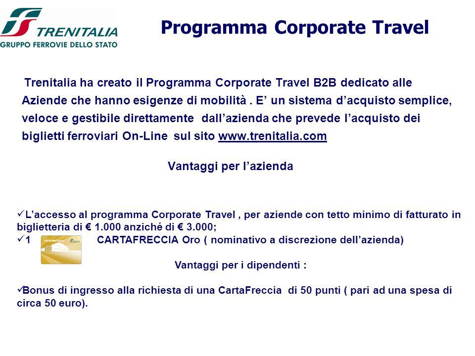 Programma Corporate Travel Trenitalia ha creato il Programma Corporate Travel B2B dedicato alle Aziende che hanno esigenze di mobilità. E' un sistema