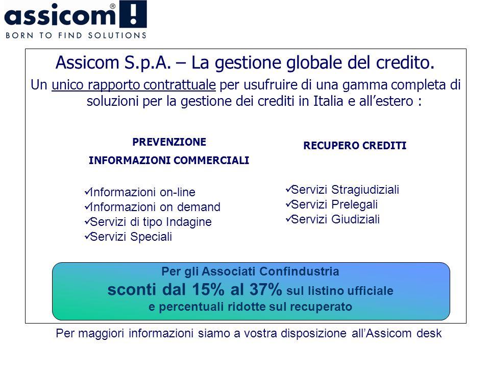 Assicom S.p.A. – La gestione globale del credito. Un unico rapporto contrattuale per usufruire di una gamma completa di soluzioni per la gestione dei