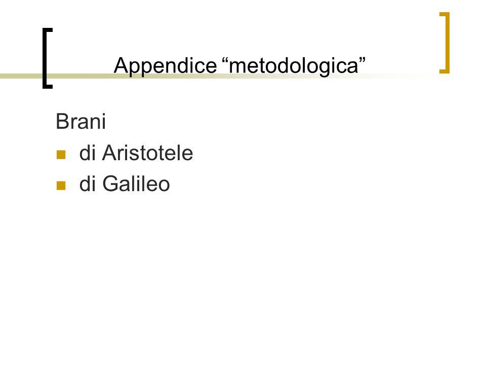 """Appendice """"metodologica"""" Brani di Aristotele di Galileo"""