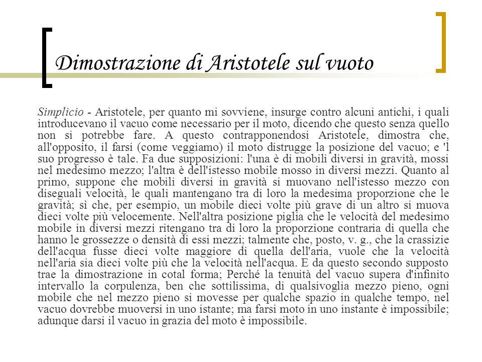 Dimostrazione di Aristotele sul vuoto Simplicio - Aristotele, per quanto mi sovviene, insurge contro alcuni antichi, i quali introducevano il vacuo co