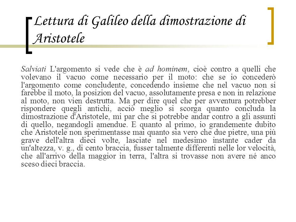 Lettura di Galileo della dimostrazione di Aristotele Salviati L'argomento si vede che è ad hominem, cioè contro a quelli che volevano il vacuo come ne