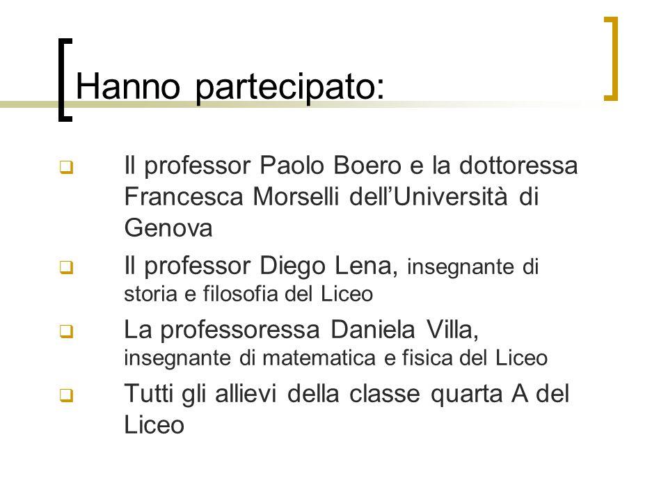 Hanno partecipato:  Il professor Paolo Boero e la dottoressa Francesca Morselli dell'Università di Genova  Il professor Diego Lena, insegnante di st