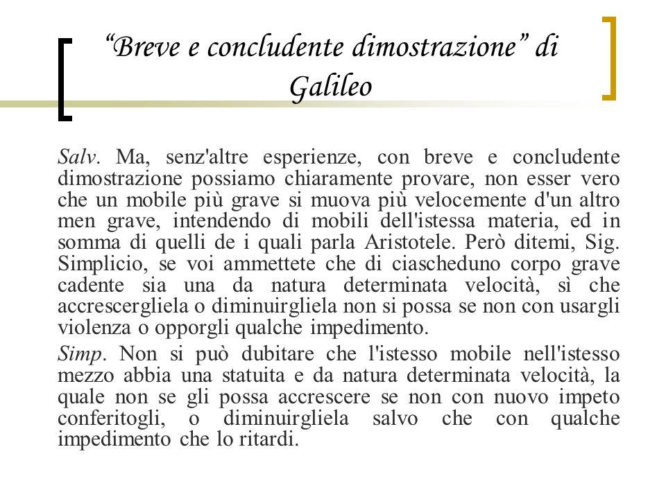 """""""Breve e concludente dimostrazione"""" di Galileo Salv. Ma, senz'altre esperienze, con breve e concludente dimostrazione possiamo chiaramente provare, no"""