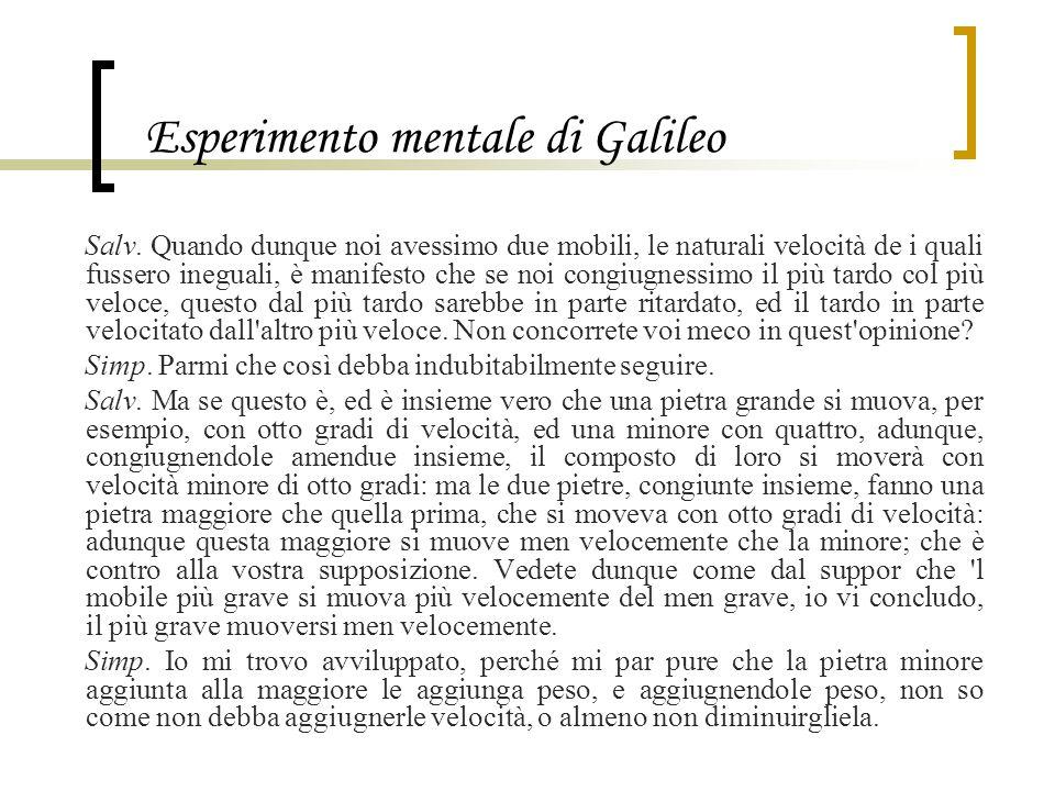 Esperimento mentale di Galileo Salv. Quando dunque noi avessimo due mobili, le naturali velocità de i quali fussero ineguali, è manifesto che se noi c