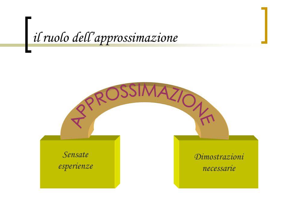 il ruolo dell'approssimazione Sensate esperienze Dimostrazioni necessarie