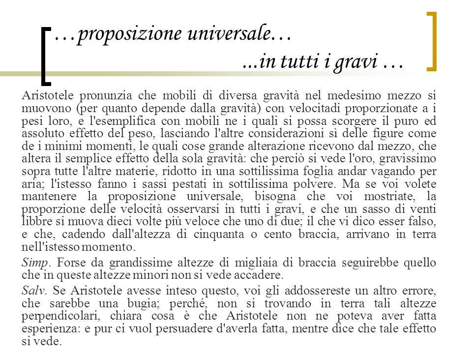 …proposizione universale…...in tutti i gravi … Aristotele pronunzia che mobili di diversa gravità nel medesimo mezzo si muovono (per quanto depende da