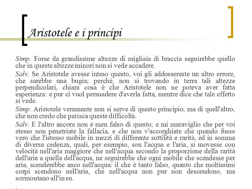Aristotele e i principi Simp. Forse da grandissime altezze di migliaia di braccia seguirebbe quello che in queste altezze minori non si vede accadere.