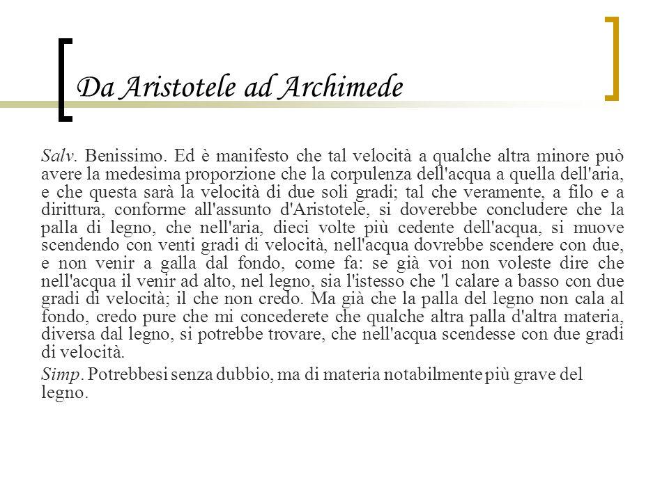 Da Aristotele ad Archimede Salv. Benissimo. Ed è manifesto che tal velocità a qualche altra minore può avere la medesima proporzione che la corpulenza