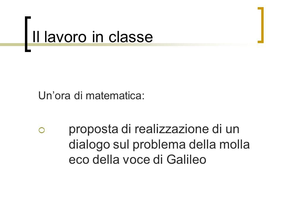 Il lavoro in classe Un'ora di matematica:  proposta di realizzazione di un dialogo sul problema della molla eco della voce di Galileo