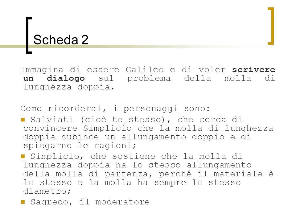 Scheda 2 Immagina di essere Galileo e di voler scrivere un dialogo sul problema della molla di lunghezza doppia. Come ricorderai, i personaggi sono: S