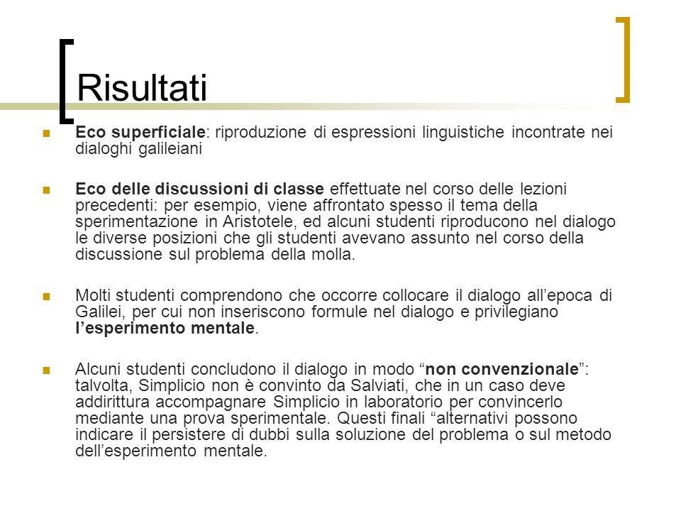 Risultati Eco superficiale: riproduzione di espressioni linguistiche incontrate nei dialoghi galileiani Eco delle discussioni di classe effettuate nel