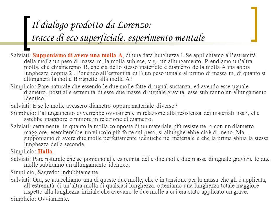 Il dialogo prodotto da Lorenzo: tracce di eco superficiale, esperimento mentale Salviati: Supponiamo di avere una molla A, di una data lunghezza l. Se