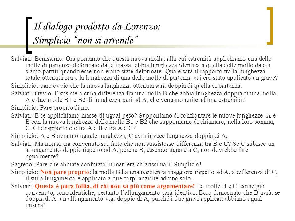"""Il dialogo prodotto da Lorenzo: Simplicio """"non si arrende"""" Salviati: Benissimo. Ora poniamo che questa nuova molla, alla cui estremità applichiamo una"""