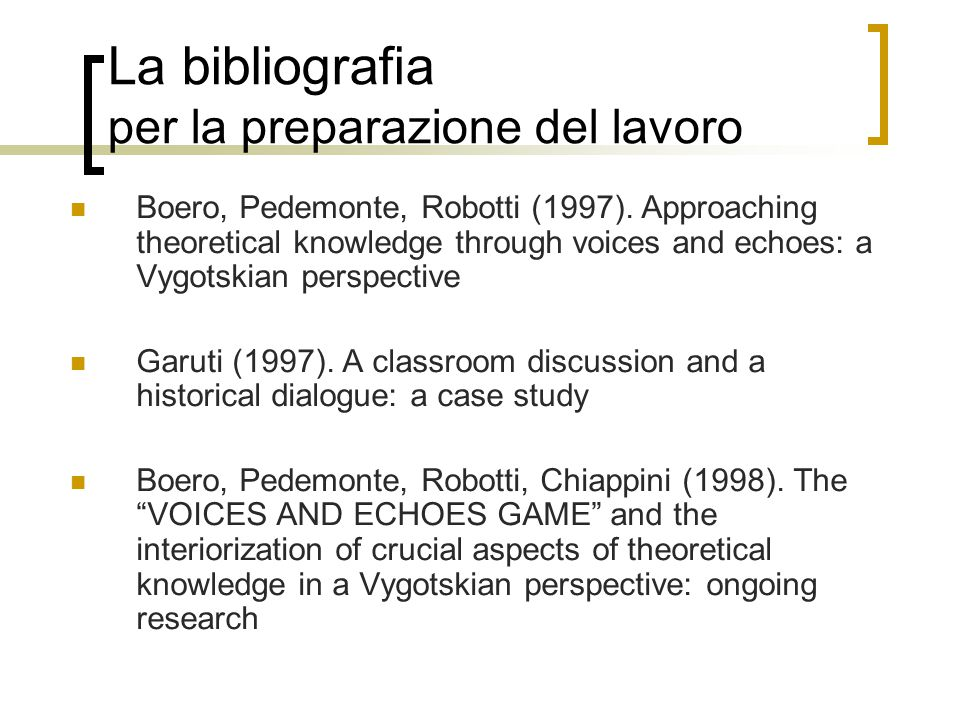 La bibliografia per la preparazione del lavoro Boero, Pedemonte, Robotti (1997). Approaching theoretical knowledge through voices and echoes: a Vygots