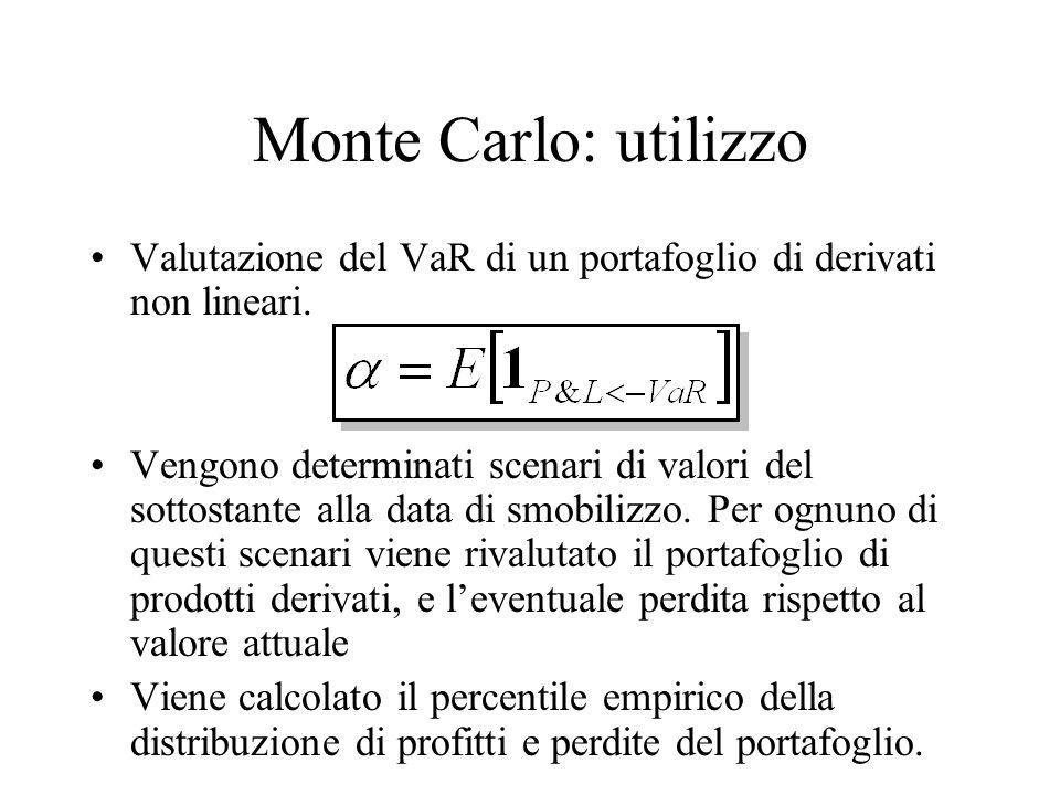 Monte Carlo: utilizzo Valutazione del VaR di un portafoglio di derivati non lineari. Vengono determinati scenari di valori del sottostante alla data d