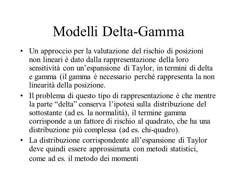Modelli Delta-Gamma Un approccio per la valutazione del rischio di posizioni non lineari è dato dalla rappresentazione della loro sensitività con un'espansione di Taylor, in termini di delta e gamma (il gamma è necessario perché rappresenta la non linearità della posizione.