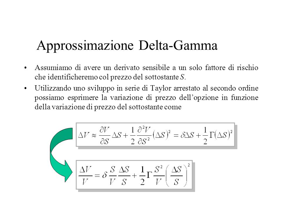 Approssimazione Delta-Gamma Assumiamo di avere un derivato sensibile a un solo fattore di rischio che identificheremo col prezzo del sottostante S.