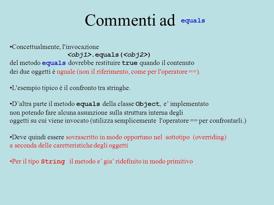 Commenti ad Concettualmente, l invocazione.equals( ) del metodo equals dovrebbe restituire true quando il contenuto dei due oggetti è uguale (non il riferimento, come per l operatore ==).