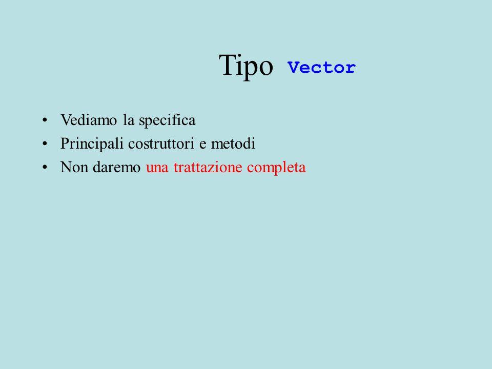 Tipo Vediamo la specifica Principali costruttori e metodi Non daremo una trattazione completa Vector