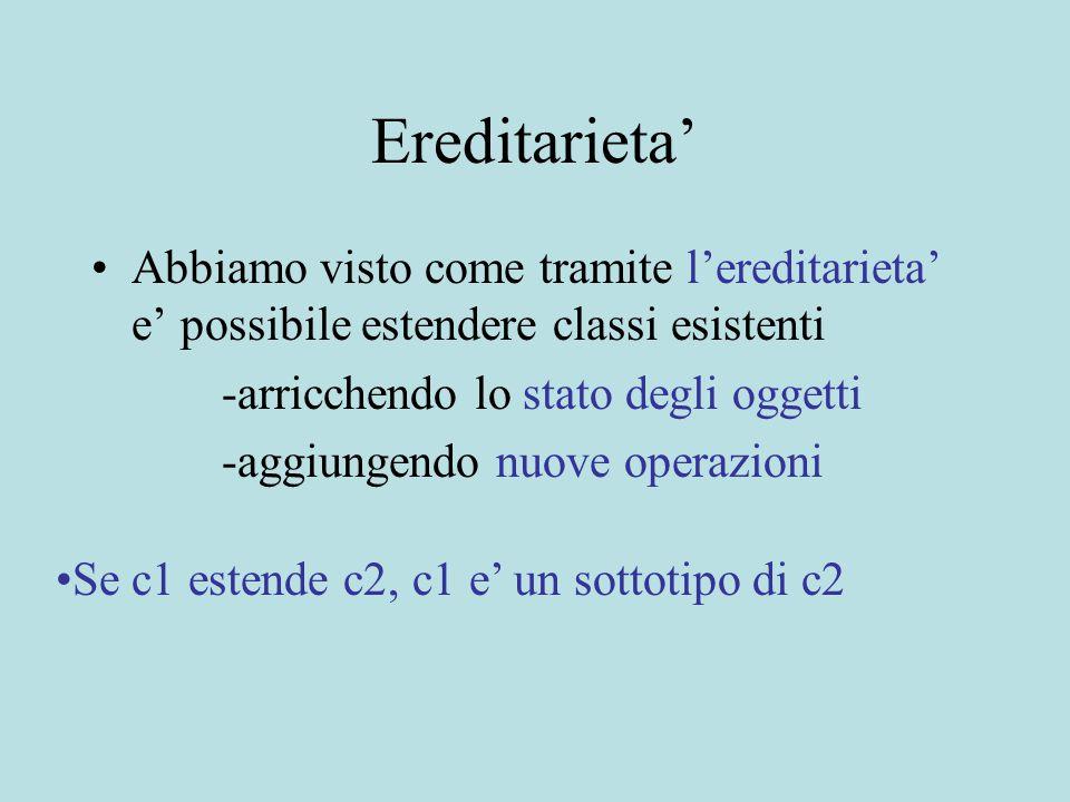 Tipi Primitivi.Vector elements=new Vector(); elements.addElement(3); errore di tipo.