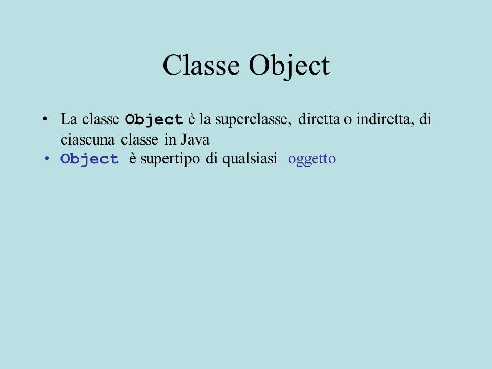 Esempio: astrazione tramite specifica Il metodo rest restituisce il resto della lista (la lista meno il primo elemento) Usando first e rest si puo' scorrere una lista (indipendentemente da come e' implementata) Esempio: metodo di ricerca statico realizzato in un modulo (classe) separata public static boolean cerca (Intlist l,Integer x) throws NullPointerException{ //REQUIRES: l ed x diversi da null // EFFECTS: restituisce true se x occorre nella //lista l, false se non occorre}