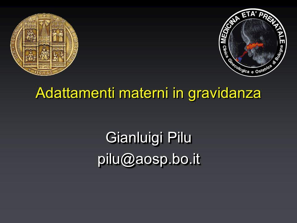 Adattamenti materni in gravidanza Gianluigi Pilu pilu@aosp.bo.it pilu@aosp.bo.it