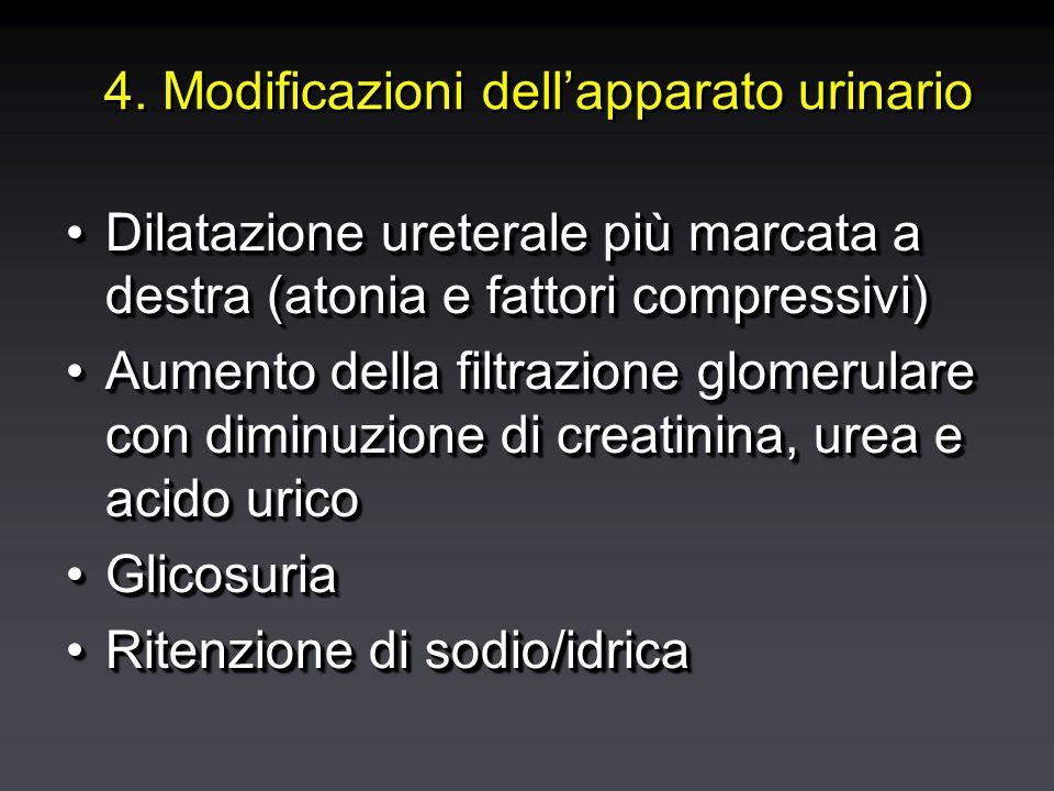 4. Modificazioni dell'apparato urinario Dilatazione ureterale più marcata a destra (atonia e fattori compressivi)Dilatazione ureterale più marcata a d