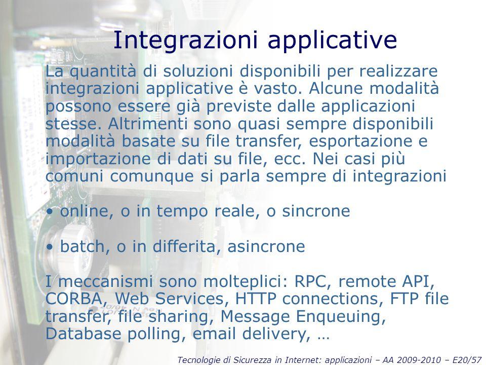 Tecnologie di Sicurezza in Internet: applicazioni – AA 2009-2010 – E20/57 Integrazioni applicative La quantità di soluzioni disponibili per realizzare integrazioni applicative è vasto.