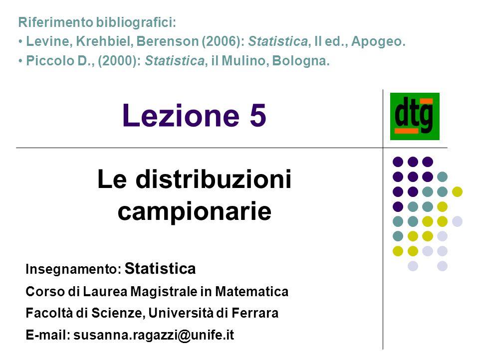 Lezione 5 Le distribuzioni campionarie Riferimento bibliografici: Levine, Krehbiel, Berenson (2006): Statistica, II ed., Apogeo. Piccolo D., (2000): S