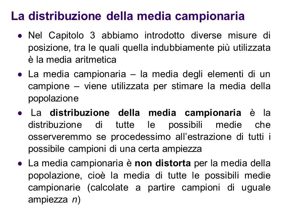 La distribuzione della media campionaria Nel Capitolo 3 abbiamo introdotto diverse misure di posizione, tra le quali quella indubbiamente più utilizza
