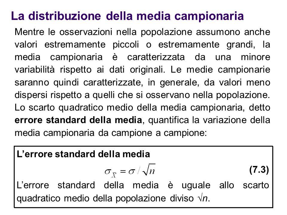 La distribuzione della media campionaria Mentre le osservazioni nella popolazione assumono anche valori estremamente piccoli o estremamente grandi, la
