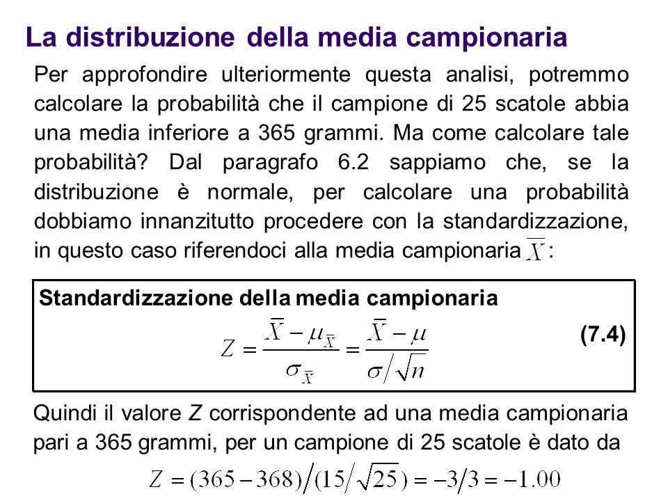 La distribuzione della media campionaria Per approfondire ulteriormente questa analisi, potremmo calcolare la probabilità che il campione di 25 scatol